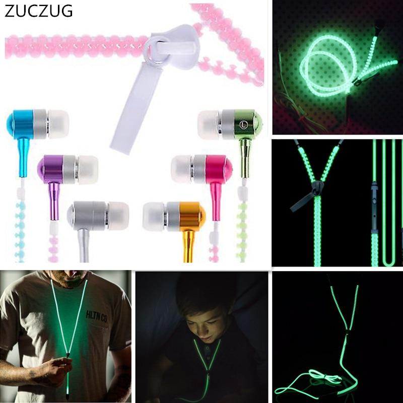 ZUCZUG Fashion Sports Earphones Headset Luminous Light Glow in the Dark Metal Zipper Earphone with Mic for Mobile Phone 2016 in the dark luminous earphones in ear flash light glowing earbuds with mic neon night light universal