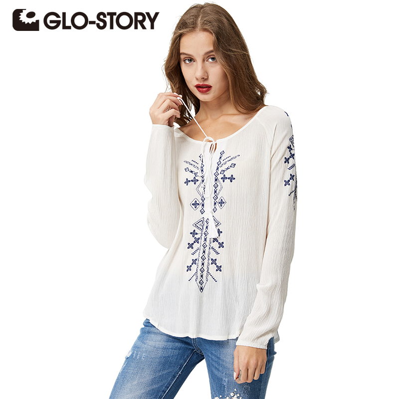 GLO-STORY Women Embroidery Long Sleeve Blouses 2020 White Vintage Casual Female Blusas 1633