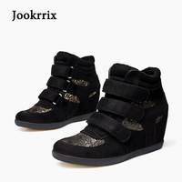 Jookrrix New Spring Fashion Lady Casual Shoes Women Sneaker Black Leisure Heighten Shoes Gold Warm Flats Hook &Loop Stitching