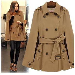 2017 Street fashion women's wool cape coats double ...