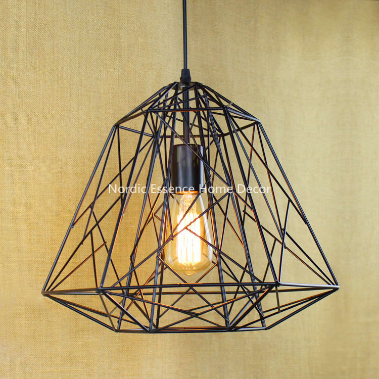 ФОТО EU Wrought iron mesh diamond style metal frame hanging wire retro nostalgia LOFT Nordic countryside simple creative chandelier