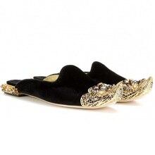 купить   Embossed Rhinestone Flat Sandals Retro Flower Luxury Gemstone Pointed Toe Gold Shoes Leather Flats Casual Slipper Women по цене 5108.1 рублей