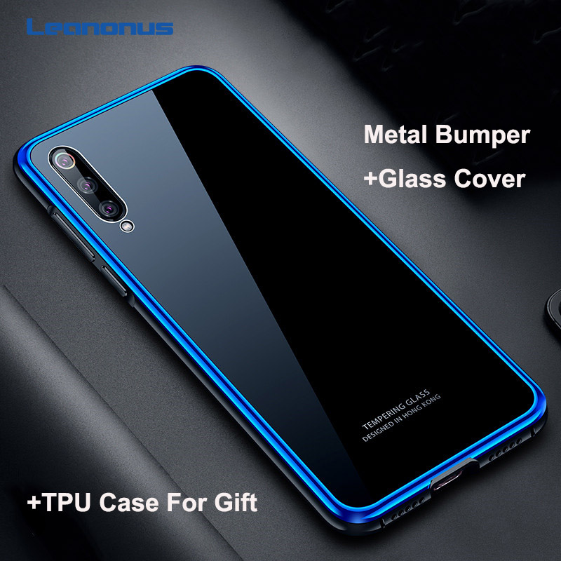 Leanonus Tempered Glass Back Cover For Xiaomi Mi 9 Mi9 SE Case For Xiaomi Mi 8 Mi8 SE Hard PC+Metal Bumper Shockproof Case