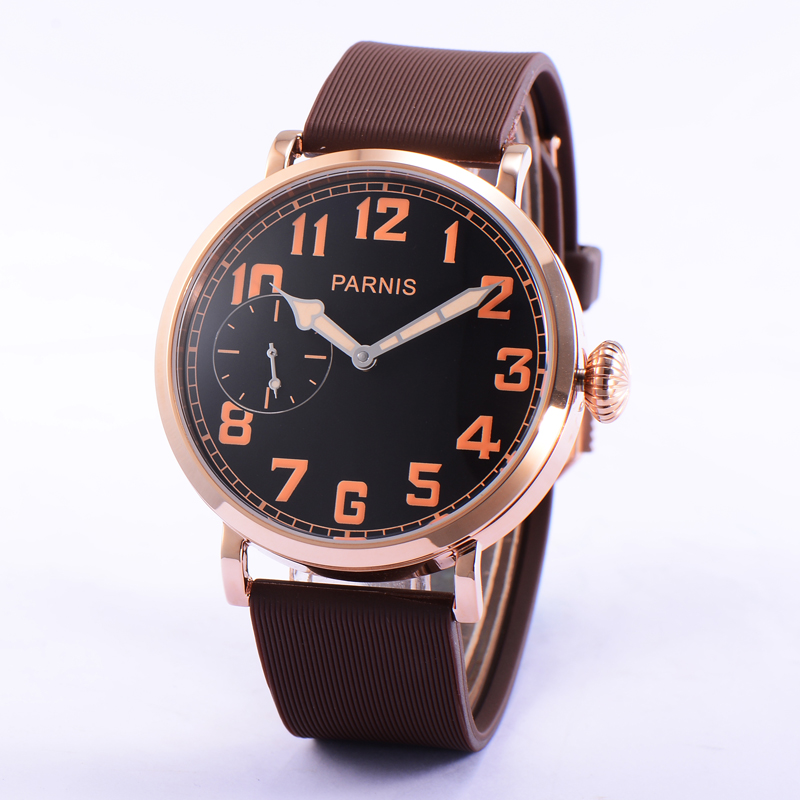 Casual Watches 46mm Parnis Rose Gold Watch Case Black Dial Orange Numbers Hand-Winding Watch Men Brown Strap