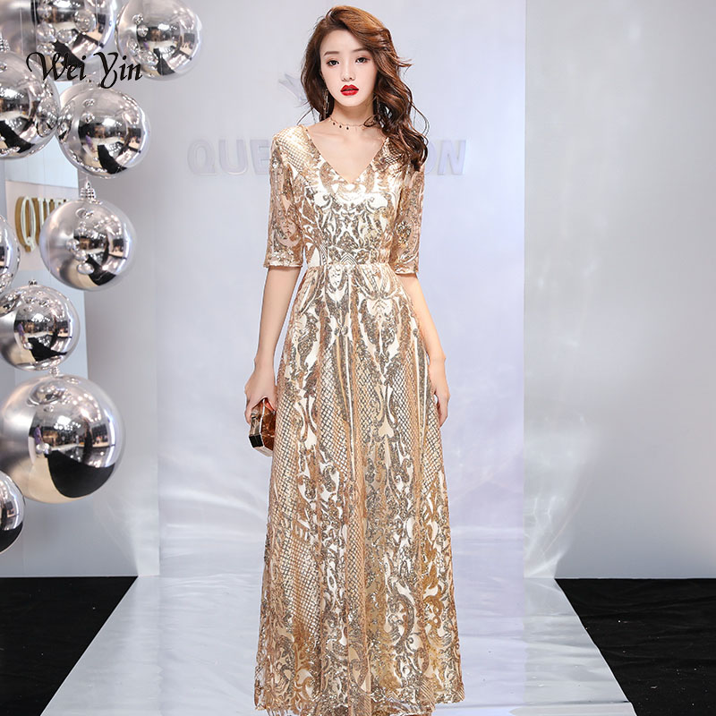 weiyin 2019 Luxury Long Sequin Evening Dress Gold A Line V Neck Cheap Evening Gowns Half Sleeves Prom Party Formal Dresses WY944 a-line