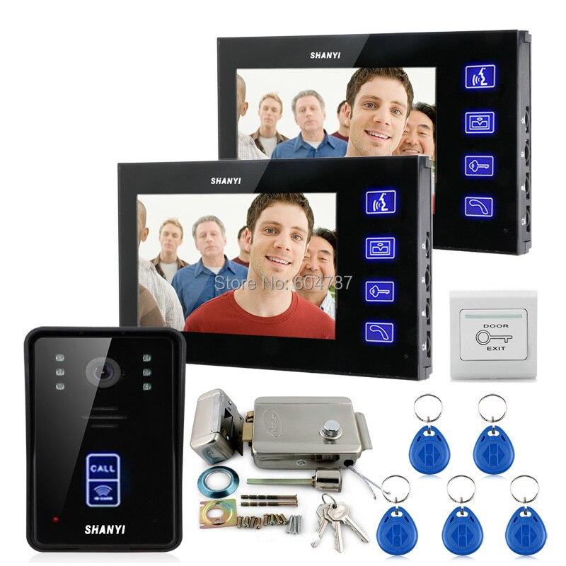 7 pollice monitor touch video telefono del portello citofono campanello home security ir serratura elettronica rfid telecomandi 1v2
