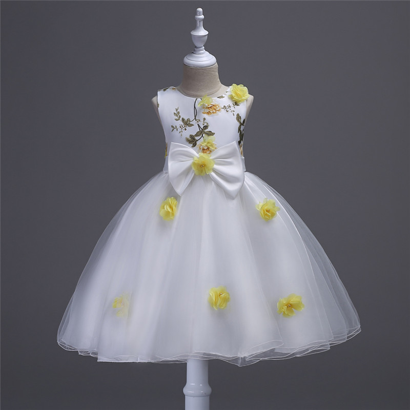 New Princess Party Formal Dresses For Girl Wedding Dresses Floral Kids Prom Dresses Summer Bow Vestido 4 6 8 10 12 Years Clothes red new summer flower kids party dresses for weddings formal princess girl evening prom sleeveless girl bow mesh dress clothes