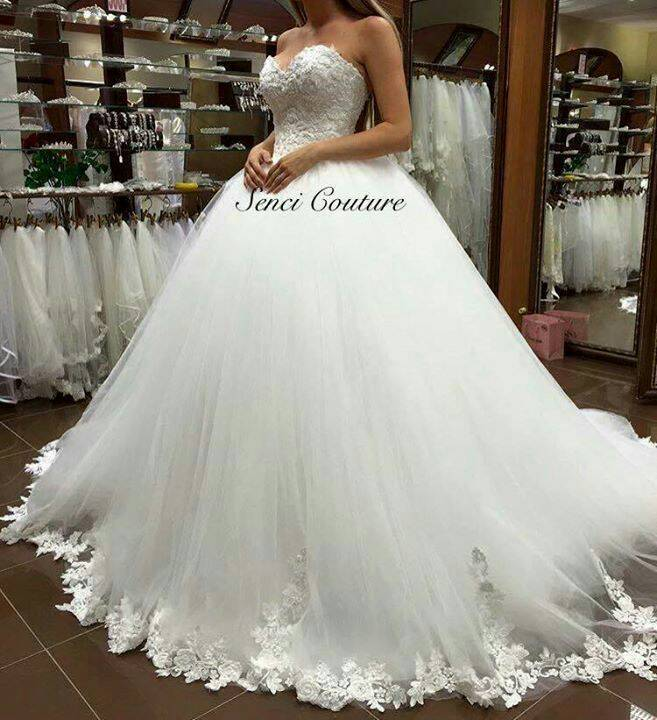 Wedding Gown Lace Up Back : Lace edge white ivory prom gown up back wedding dresses