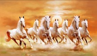 Seven Running White Horse Animals Painting Artistic Canvas Art Gold Posters and Prints Modern Wall Art Picture For Living Room