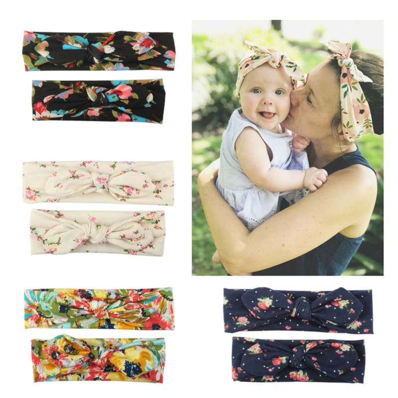 Mama And Baby Girl Elastic Bow Knotted Turban Floral Print Hair Band Headband Headwear Solid Bowknot Headband 2Pcs 2019 New