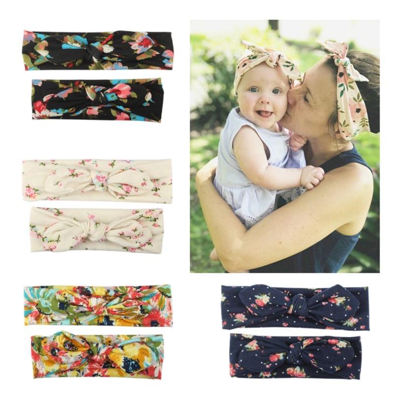 Mama And Baby Girl Elastic Bow Knotted Turban Floral Print Hair Band Headband Headwear Solid Bowknot Headband 2Pcs 2019 New