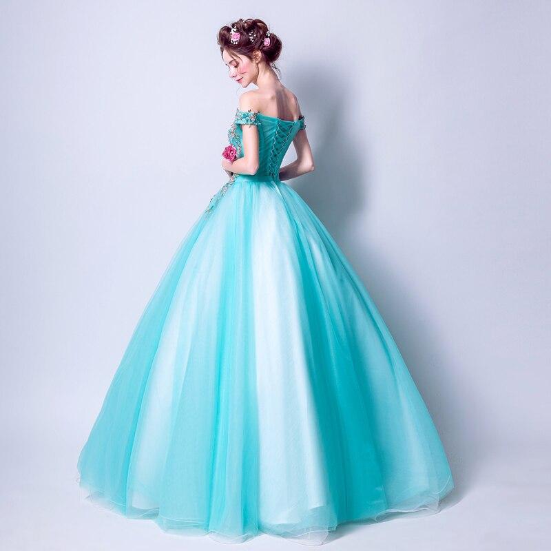 Vestido de noche azul turquesa