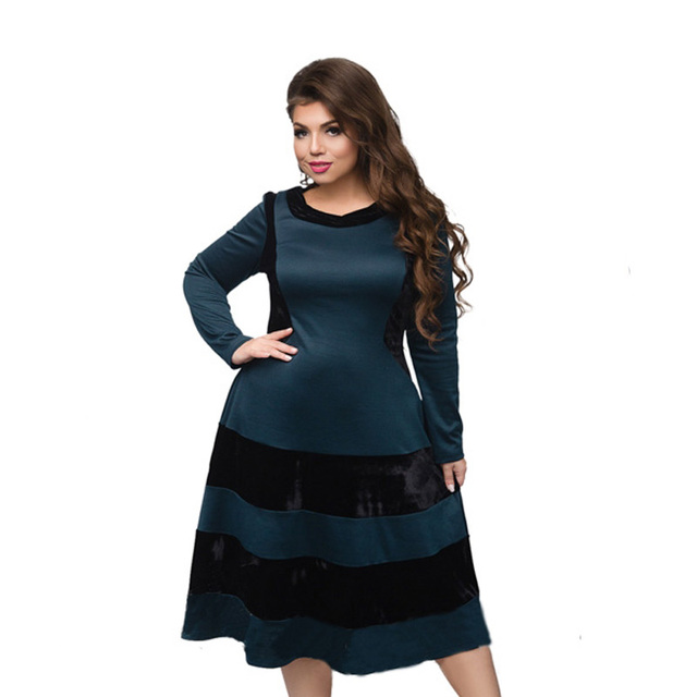 5xl 6xl Plus Size Women Dress 2017 Winter Solid Patchwork Velvet Long Sleeve Stripe