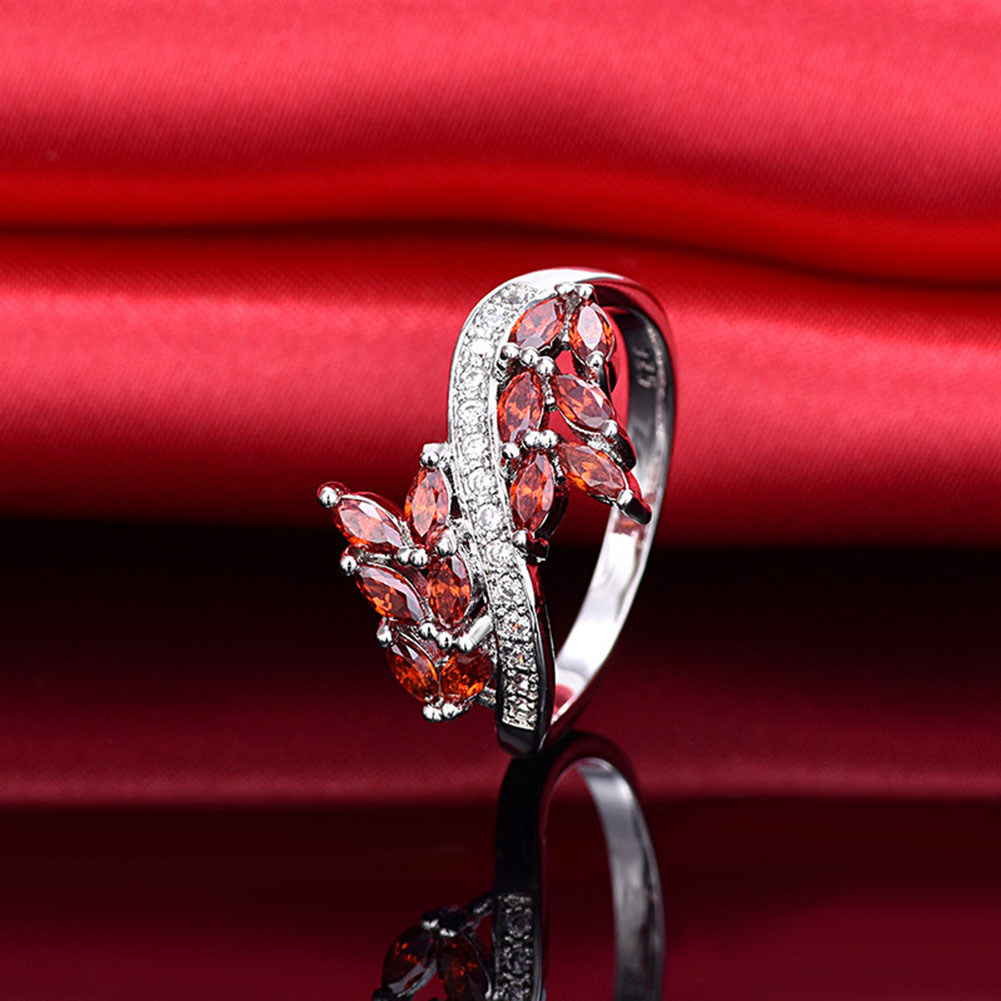 New Wheat Shape Big Rings For Women Wheat Design CZ Stone Statement Ring Engagement Wholesale Jewelry Leaves