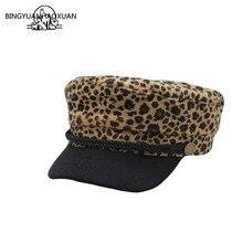 Beret Caps Ladies Fashion Leopard Print Hats For Women Flat Female Military Cap Sports Boina Feminina