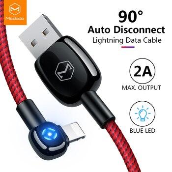 Mcdodo Auto Disconnect สำหรับ lightning Charger สายชาร์จข้อมูล USB สำหรับ iPhone X XR XS สูงสุด 8 7 6 Plus LED ข้อศอกเกม