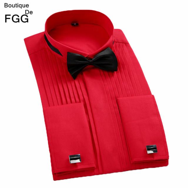 Más el Tamaño XS-4XL Rojo \ Blanco Del Banquete de Boda de Noche Camisas Slim Fit Novio Tuxedo Camisas Plisadas Vestido Largo de La Manga