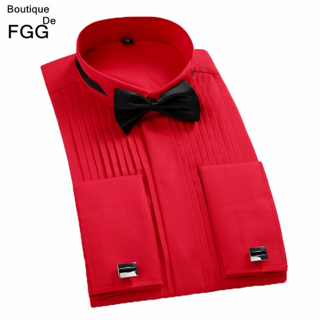Plus Size XS-4XL Red\White Men Wedding Party Evening Tuxedo Shirts Slim Fit Groom Pleated Dress Shirts Long Sleeve