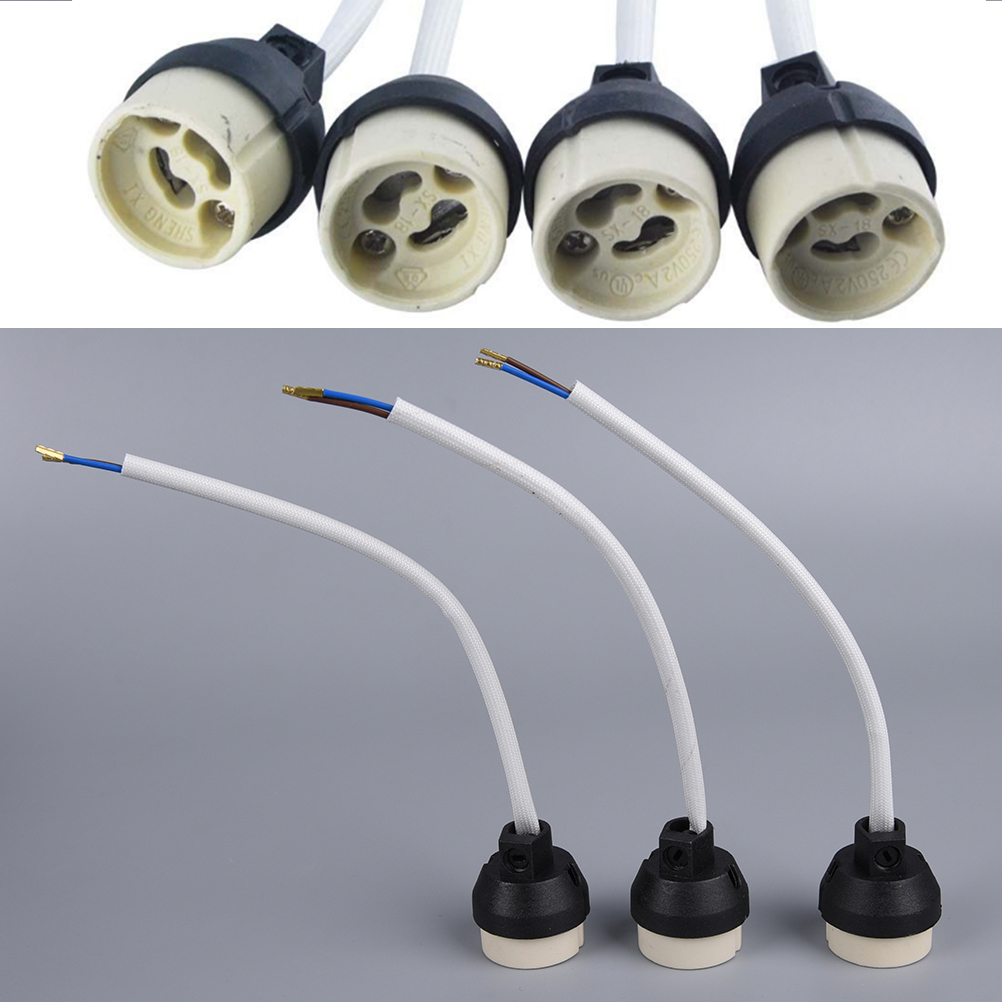 Ceramic GU10 Base Socket Adapter Wire Connector Porcelain Halogen GU10 Lamp Holder LampHolder For LED Spot Light Bulb
