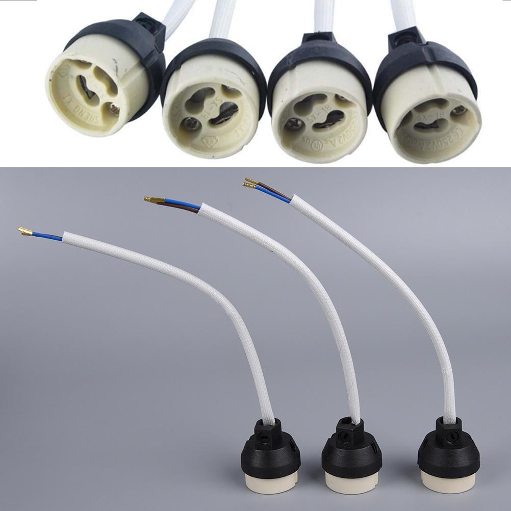Ceramic GU10 Base Socket Adapter Wire Connector Porcelain Halogen GU10 Lamp Holder LampHolder For LED Spot Light Bulb