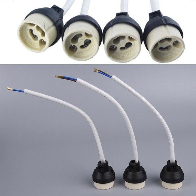 Ceramic Gu10 Base Socket Adapter Wire Connector Porcelain Halogen Lamp Holder Lampholder For Led Spot Light Bulb
