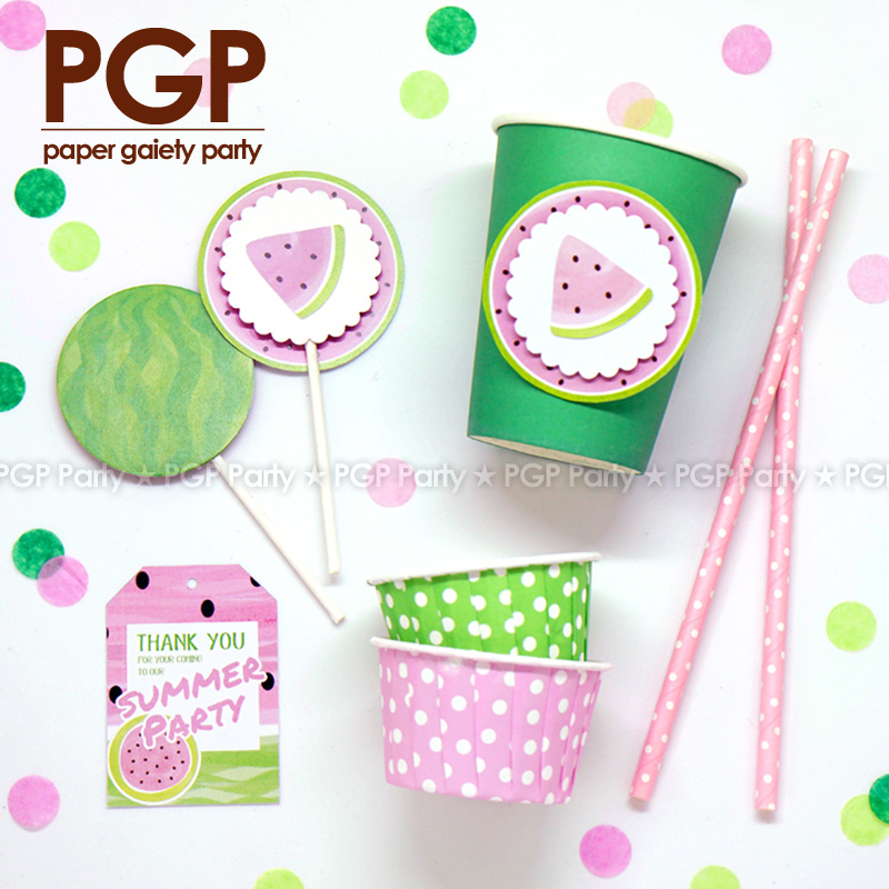 [PGP] Watermelon Theme Party set, Cake Cup Topper Icecream Cone Invitation for Kids Girls Boys 1st Birthday Baby shower