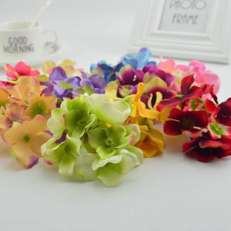 3pcs Silk Hydrangea Artificial Flowers Head For Wedding Car Decoration DIY gifts box Garland Decorative Floristry Fake Flowers