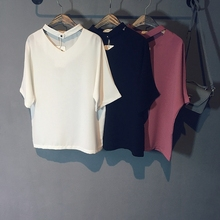 2016 summer new women's chiffon short-sleeve V-neck shirt classic solid color all-match women shirts