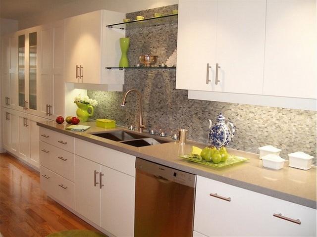 2017 nieuwe ontwerp eigentijdse keukenkasten witte kleur moderne