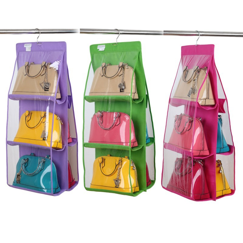 free shipping 6 pocket large clear purse handbag hanging storage organizer closet tidy u0026 clean home