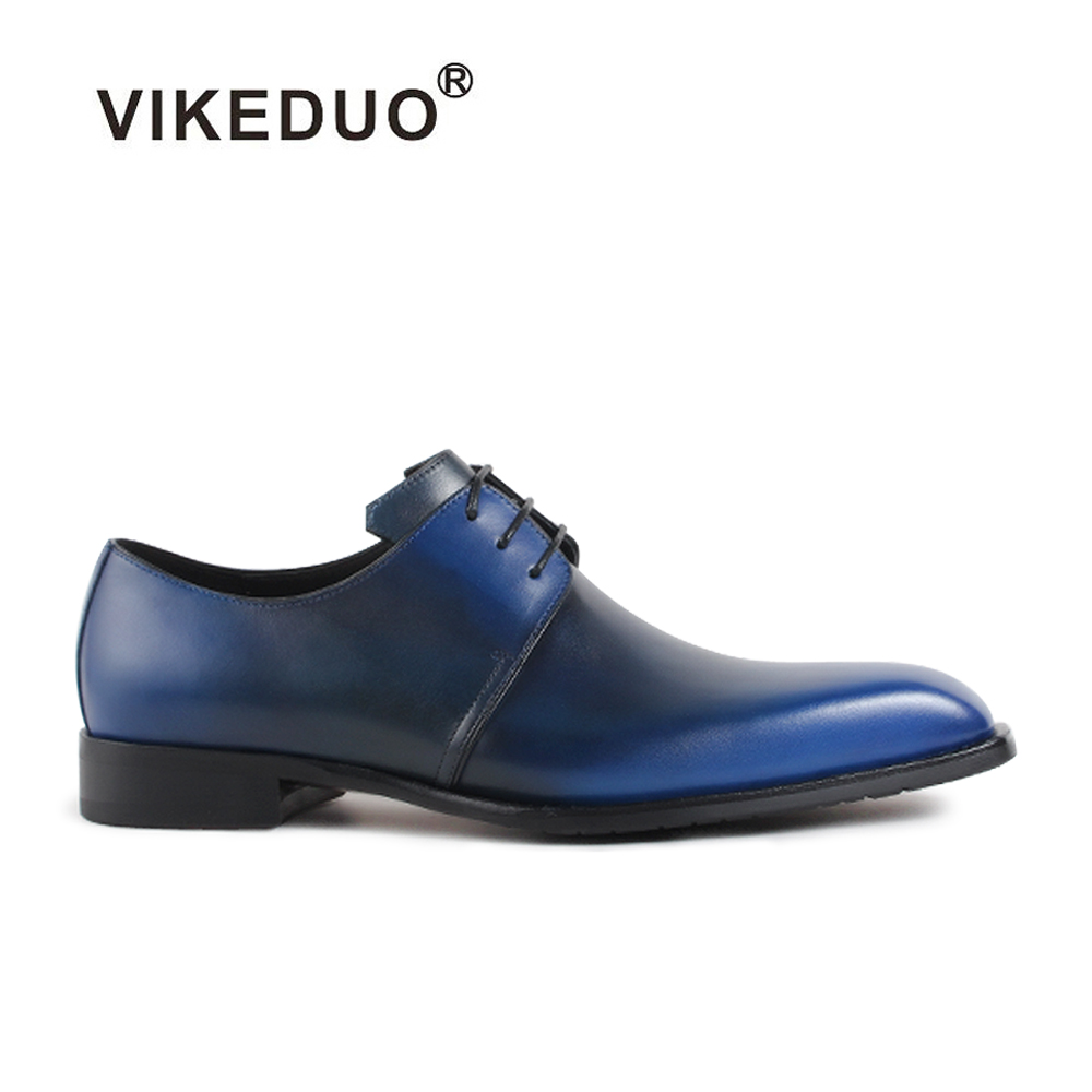 2018 Vikeduo Vintage Custom Made Mens Derby Shoes Handmade 100% Genuine Cow Leather Blue Party Dress Wedding Original Design ensemble stars 2wink cospaly shoes anime boots custom made