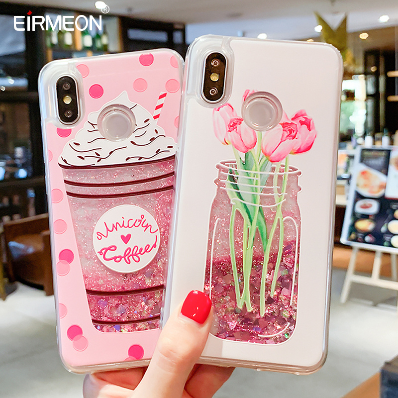 Image 2 - Liquid Quicksand Phone Case For Xiaomi Redmi Note 7 5 Pro Mi 8 Love Heart Glitter Cover For iPhone 7 8 X XS XR XS Max 6 6S Plus-in Fitted Cases from Cellphones & Telecommunications