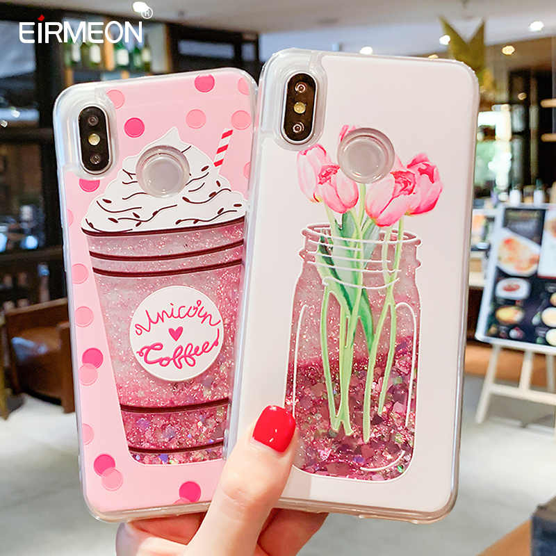 Telefon z płynnym piaskiem obudowa do xiaomi czerwony mi uwaga 7 5 Pro mi 8 Love Heart brokatowe etui na iphone'a 7 8 X XS XR XS Max 6 6S Plus