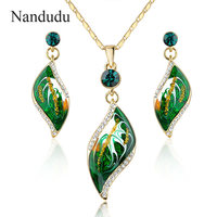 Nandudu Brand Design Gold Plated Green Oil Painting Pattern Drop Earrings And Necklace Jewelry Set 2017
