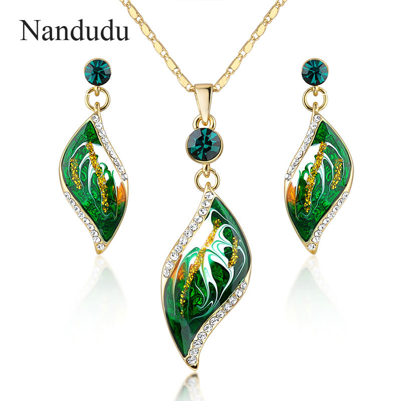Nandudu Brand Design Gold Color Green Oil Painting Pattern Drop Earrings and Necklace Jewelry Set 2017
