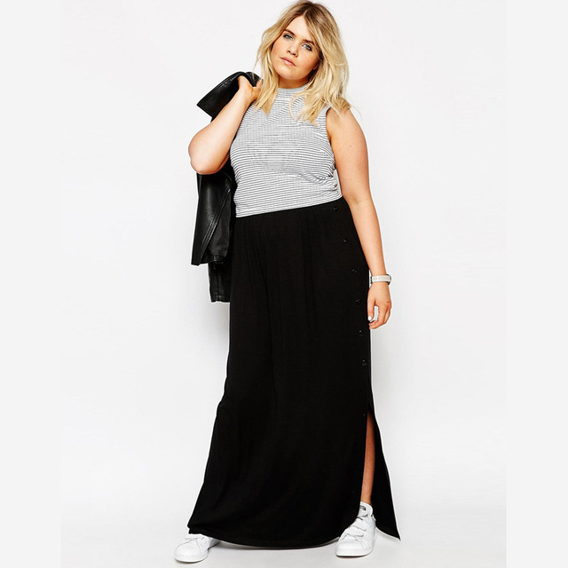 36d6f22e07c Casual Women Summer Long Skirt Street Saia Black Beach Boho Skirt Plus Size  Maxi Skirt 3XL 4XL 5XL 6XL American Apparel Skirts