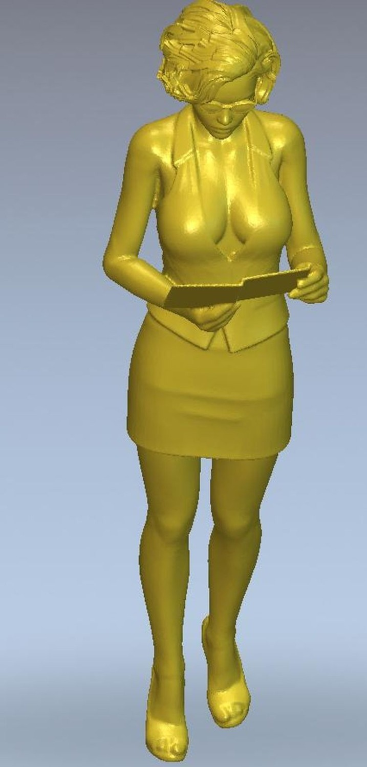 3d model relief for cnc or 3D printers in STL file format Girl with a tablet-in Wood Routers