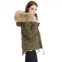 Большой натуральный мех зимняя куртка для женщин пальто теплая съемная подкладка енота меховой воротник с капюшоном армейский зеленый фир