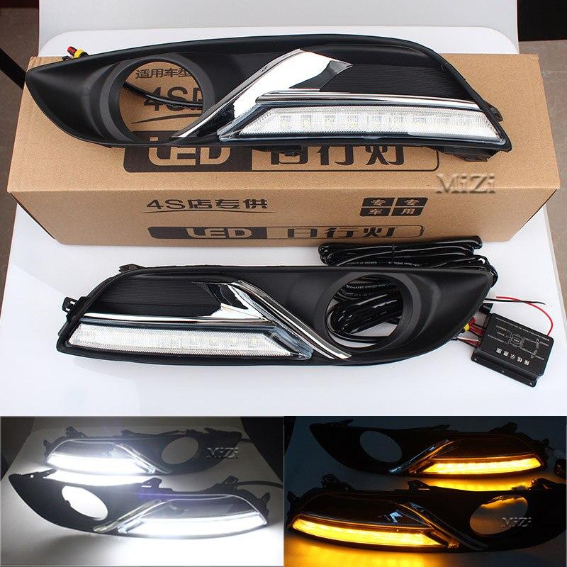 Автомобиля DRL дневного Бег указатель поворота стиль реле LED для Nissan Sylphy sentra 2013-15 с авто туман свет отверстие дальнего