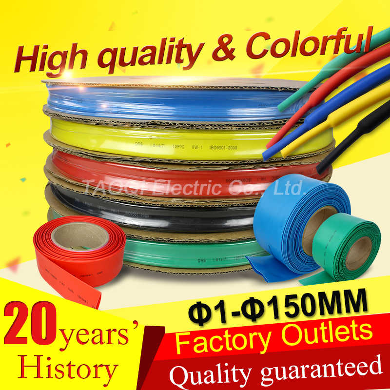 Black Heat Shrink 1mm-50mm Tubing 2:1 3:1 4:1 For Car Cable Wire Electrical DIY