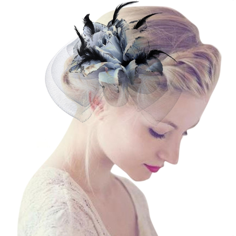 Womens Bridal Party Headwear Fascinator Veiling Cocktail Hat Hair Clips Mesh Rose Flower