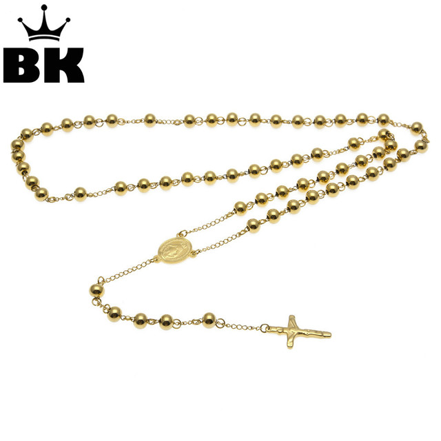 NEW Catholic Goddess Virgen de Guadalupe 8mm beads Gold Color Rosary ...