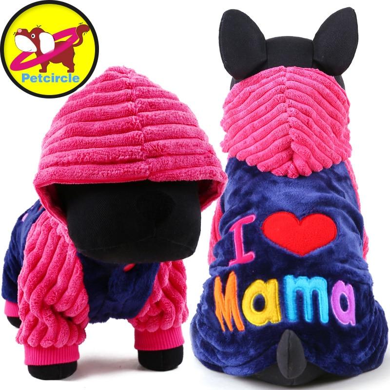 2017 Petcircle Moda amo papa y mama invierno Perro Mascota ropa Ropa Para  Mascotas Perro Pequeño