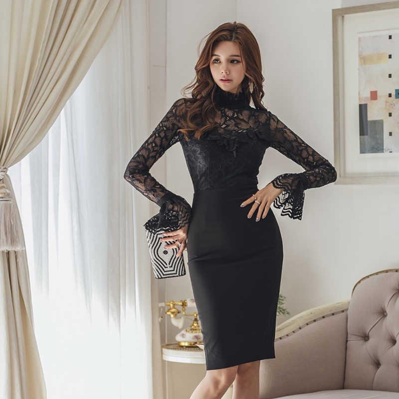 Элегантные кружевные лоскутные вечерние Женское платье с воротником-стойкой в дырочку Flroal платье; Vestidos; сезон осень платье средней длины 2018