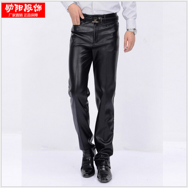 29-38!!!!The New Winter 2015 Men's Wear Brand Men's Fashion Business High-Grade Winter Wool Warm Locomotive Men Leather Pants