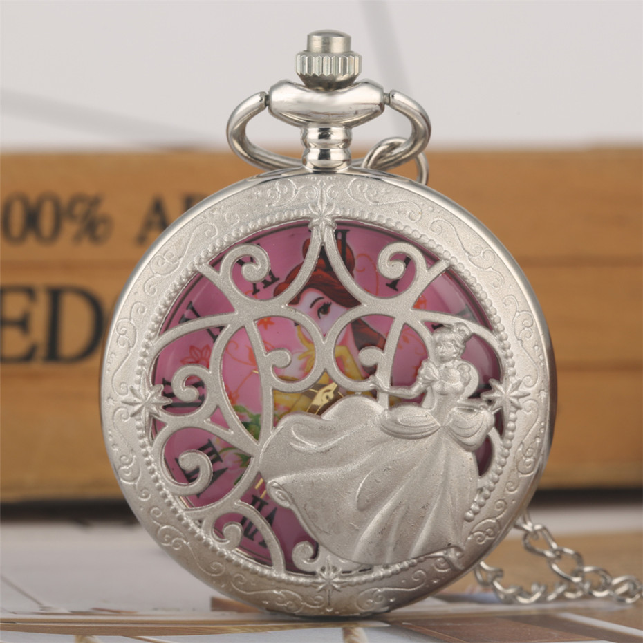 Silver Princess Design Hollow Quartz Pocket Watch Lovely Pink Dial Roman Numerals Display Necklace Watch Gifts For Lady Girl