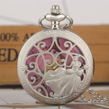 Silver Princess Design Hollow Quartz Pocket Watch Lovely Pink Dial Roman Numerals Display Necklace Watch Gifts for Lady Girl(China)