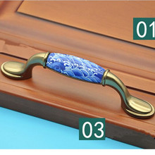 96mm Creative fashion vintage bronze furniture handles white and blue porcelain kitchen cabinet drawer dresser pull ceramic knob