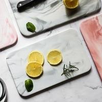 Nordic minimalist marbled ceramic tray rectangular plate chopping board cake sushi plate western bread flat plate
