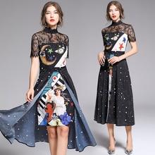 Banulin 2019 Fashion Runway Summer Dress Womens Short Sleeve Elegant Angel Print Lace patchwork Split Vintage Midi